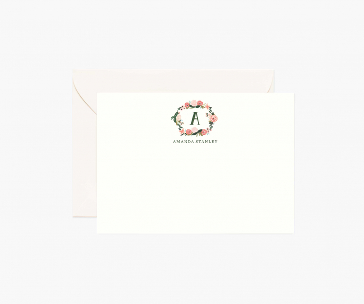 Monogram Personalized Flat Notes- Wreath Initial