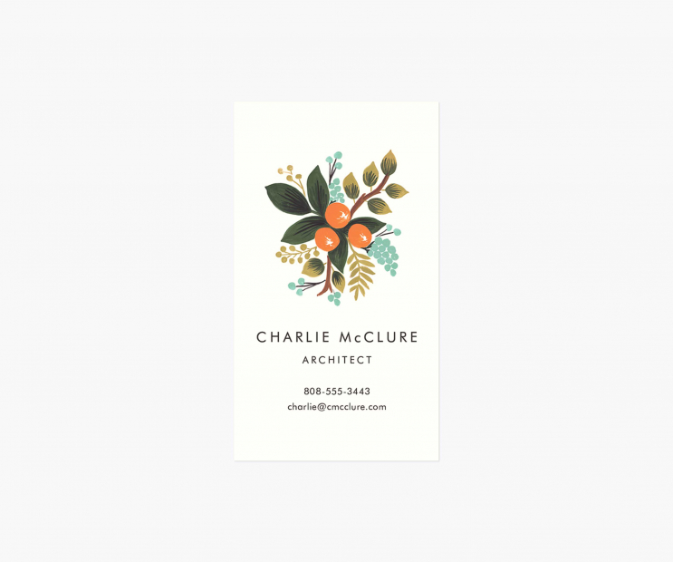 Motif Personalized Business Cards- Botanical Clementine