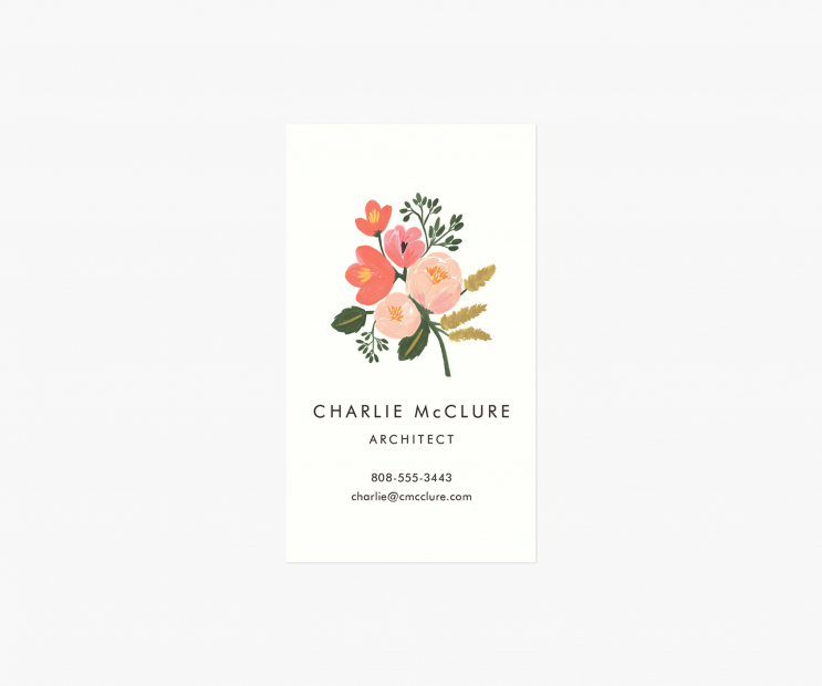 Motif Personalized Business Cards- Botanical Pink