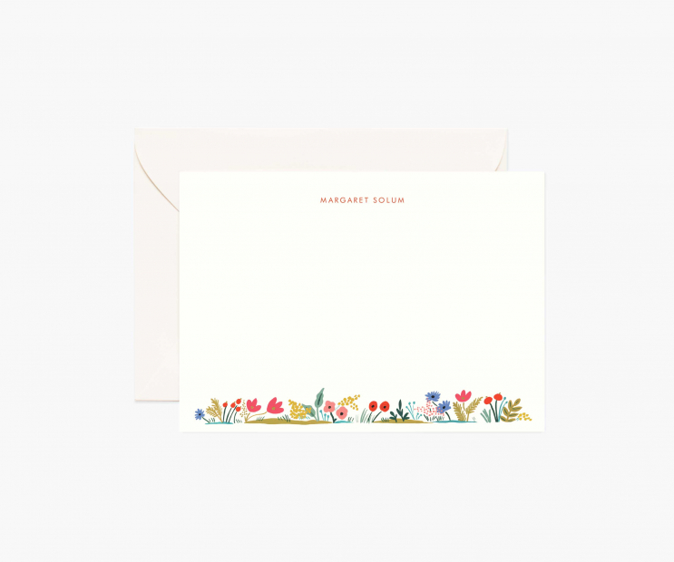 Floral Edge Personalized Flat Notes- Meadow