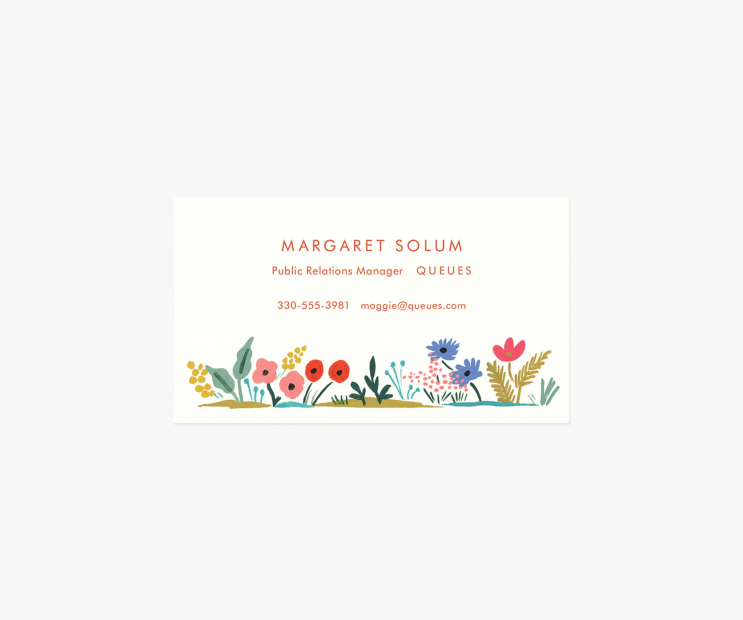 Floral Edge Personalized Business Cards- Meadow
