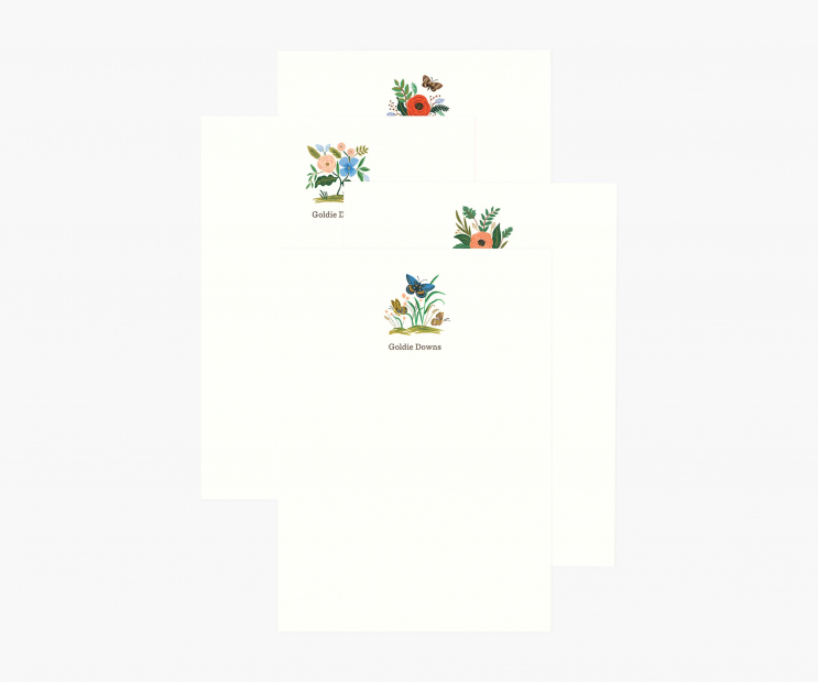 Vertical Motif Personalized Flat Notes- Assorted Midnight Floral