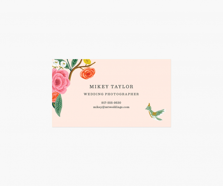 Blush Personalized Business Cards- Shanghai Garden