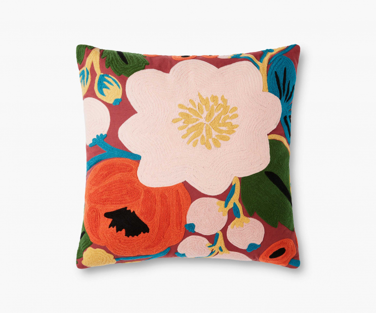 Vintage Blossoms Embroidered Pillow-Crimson