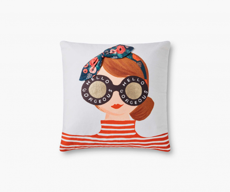 Hello Gorgeous Girl Embellished Pillow-Multi